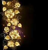 foto of brocade  - twisted gold roses on a black background - JPG