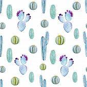 stock photo of peyote  - Beautiful vector pattern with nice watercolor cactus peyote - JPG