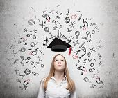 Young Beautiful Business Woman Is Thinking About Education At Business School. Drawn Business Icons poster