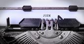 pic of joining  - Vintage inscription made by old typewriter join - JPG