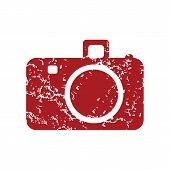 picture of megapixel  - Red grunge camera logo on a white background - JPG