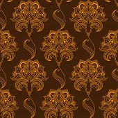 pic of oblique  - Oriental stylized orange flourish seamless pattern on brown background with luxuriant paisley flowers - JPG