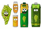 stock photo of juices  - Natural grape juice cartoon characters with funny smiling glasses - JPG
