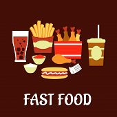 image of hot dog  - Fast food snacks and drinks set in flat style with takeaway french fries - JPG