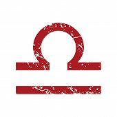 stock photo of libra  - Red grunge Libra logo on a white background - JPG