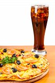 picture of hot fresh pizza  - hot fresh pizza and glass on a white background - JPG