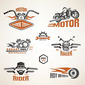 stock photo of motorcycle  - Set of vintage motorcycle labels badges and design elements - JPG