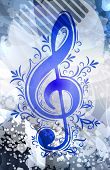 pic of g clef  - Abstract musical background with treble clef - JPG