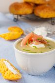 stock photo of leek  - Delicious leek cream soup with smoked salmon and cream cheese - JPG