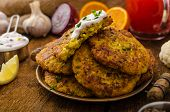 picture of greek  - Cauliflower curry pancakes with spicy dip of Greek yogurt chives and lemon juice - JPG