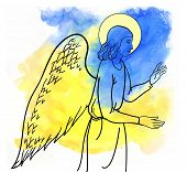 picture of golgotha  - angel  blesses on watercolor style colofull backround - JPG
