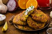 pic of greek  - Cauliflower curry pancakes with spicy dip of Greek yogurt chives and lemon juice - JPG