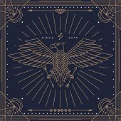 picture of eagles  - Vintage thin line eagle label - JPG