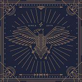 stock photo of eagles  - Vintage thin line eagle label - JPG