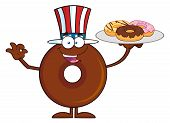 pic of donut  - American Chocolate Donut Cartoon Character Serving Donuts - JPG