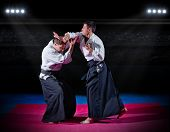 picture of aikido  - Two aikido fighters at sports hall - JPG