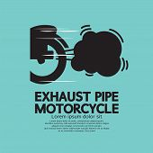 stock photo of exhaust pipes  - Exhaust Pipe Motorcycle Black Symbol Vector Illustration - JPG