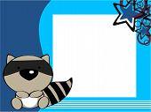 pic of raccoon  - cute baby raccoon picture frame in vector format very easy toedit - JPG