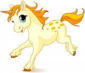 stock photo of unicorn  - Illustration of cute running unicorn - JPG