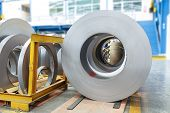 picture of ferrous metal  - Rolls of metal sheet for production in factory  - JPG