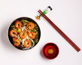 stock photo of rice noodles  - Vietnamese shrimp and rice noodles soup pho with a white background - JPG
