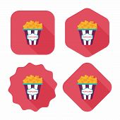 pic of popcorn  - Popcorn Flat Icon With Long Shadow - JPG
