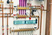 stock photo of boiler  - underfloor heating system in  boiler - JPG