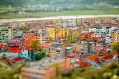 picture of albania  - Coloful panel houses in Berat city, Albania. Top view