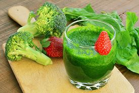 picture of fruit shake  - Green vegetable smoothie with strawberries - JPG