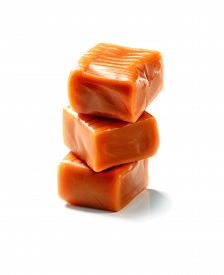 picture of toffee  - stack of toffee caramel candy close - JPG