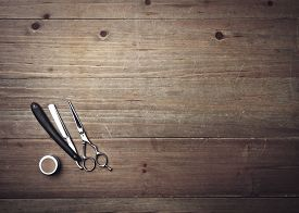 pic of barber razor  - Vintage Barber Equipment On Wood Background With Place For Text - JPG