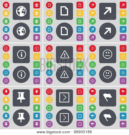 Earth, File, Full Screen, Information, Warning, Smile, Pin, Arro Icon Symbol. A Large Set Of Flat, C