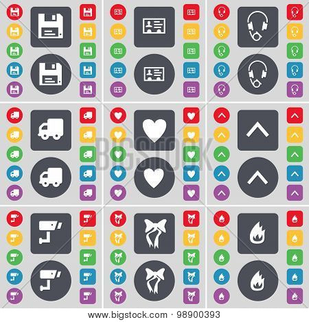 Floppy, Contact, Headphones, Truck, Heart, Arrow Up, Cctv, Bow,  Icon Symbol. A Large Set Of Flat, C
