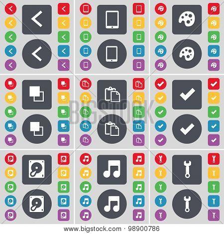 Arrow Left, Tablet Pc, Palette, Copy, Survey, Tick, Hard Drive,  Icon Symbol. A Large Set Of Flat, C