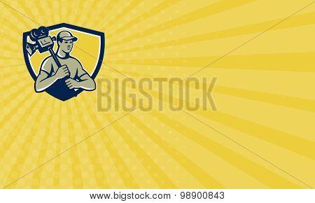 Business Card Cameraman Vintage Film Movie Camera Shield Retro