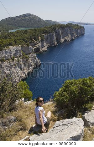 Girl on the cliff, Kornati Islands, Croatia
