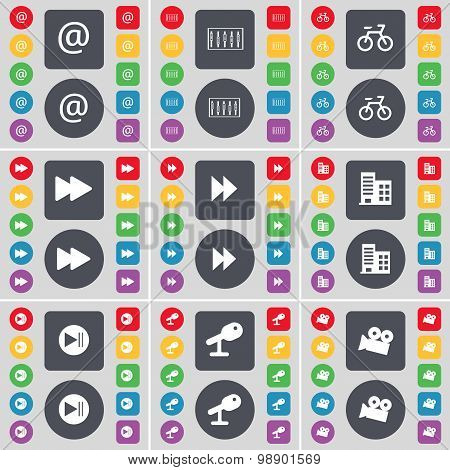 Mail, Equalizer, Bicycle, Rewind, Building, Media Skip, Micropho Icon Symbol. A Large Set Of Flat, C