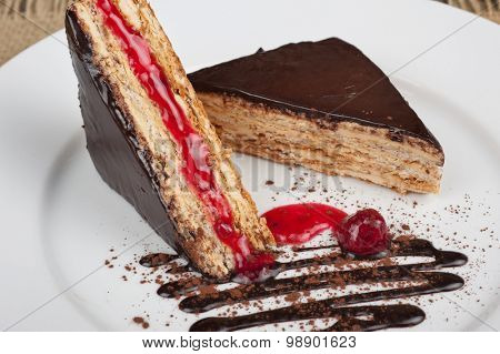Esterhazy chocolate dessert pie with cherry jam decorated
