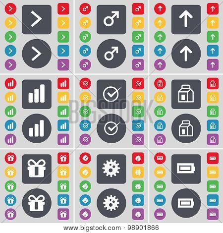 Arrow Right, Mars Symbol, Arrow Up, Diagram, Tick, Packing, Gift Icon Symbol. A Large Set Of Flat, C
