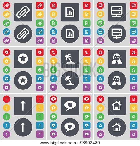 Clip, Diagram File, Server, Star, Palm, Avatar, Arrow Up, Chat Bubble, House Icon Symbol. A Large Se