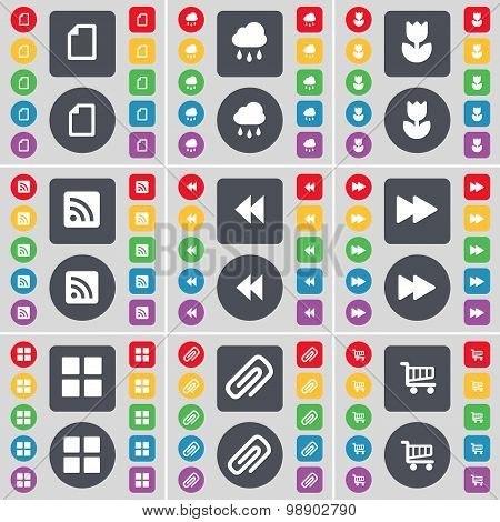 File, Cloud, Flower, Rss, Rewind, Apps, Clip, Shopping Cart Icon Symbol. A Large Set Of Flat, Colore