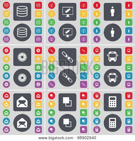 Database, Monitor, Silhouette, Lens, Link, Bus, Message, Copy, Calculator Icon Symbol. A Large Set O