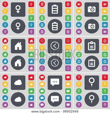 Venus Symbol, Battery, Camera, House, Arrow Left, Survey, Cloud, Chat Bubble, Checkpoint Icon Symbol