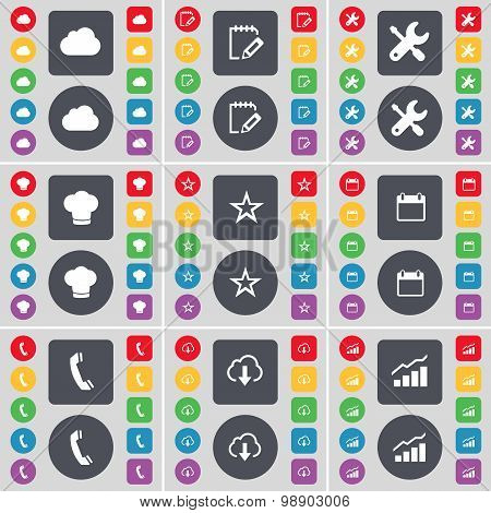 Cloud, Notebook, Wrench, Cooking Hat, Star, Calendar, Receiver, Cloud, Graph Icon Symbol. A Large Se