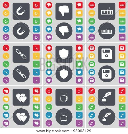 Magnet, Dislike, Keyboard, Link, Badge, Floppy, Heart, Retro Tv, Ink Pot Icon Symbol. A Large Set Of