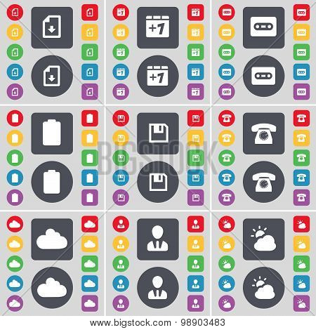 Download File, Plus One, Cassette, Battery, Floppy, Retro Phone, Cloud, Avatar, Weather Icon Symbol.