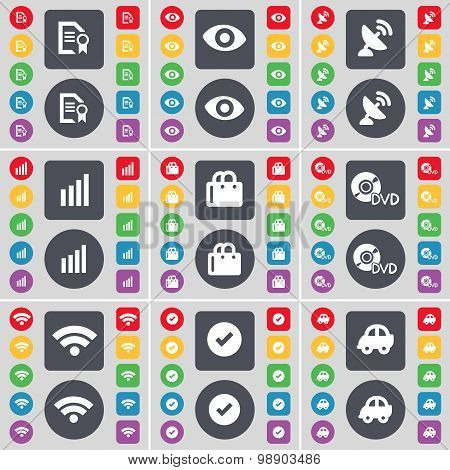 Text File, Vision, Satellite Dish, Diagram, Shopping Bag, Dvd, Wi-fi, Tick, Car Icon Symbol. A Large