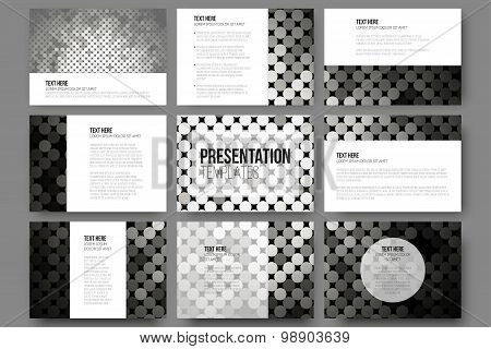 Set of 9 vector templates for presentation slides. Abstract silver dots background