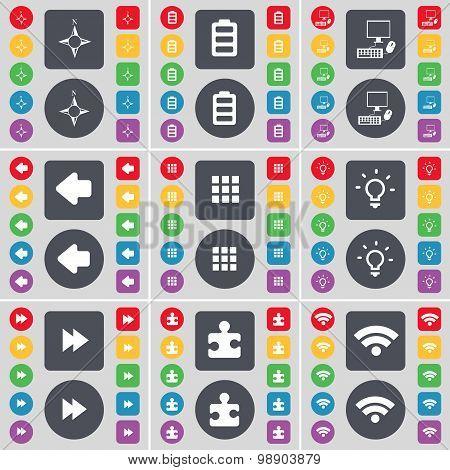Compass, Battery, Pc, Arrow Left, Apps, Light Bulb, Rewind, Puzzle Part, Wi-fi Icon Symbol. A Large