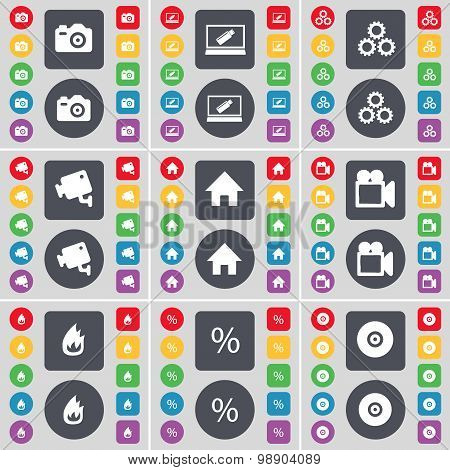 Camera, Laptop, Gear, Cctv, House, Film Camera, Fire, Percent, Disk Icon Symbol. A Large Set Of Flat